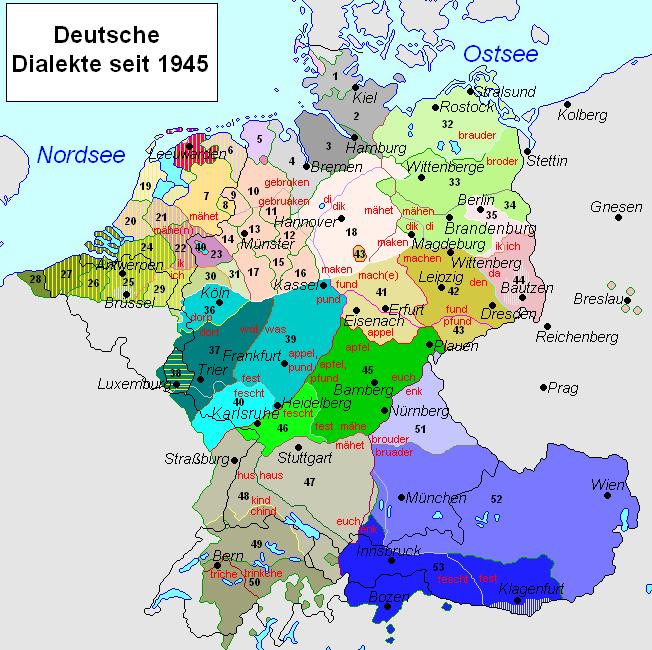 Карта диалектов немецкого языка, составленная в 1945 году